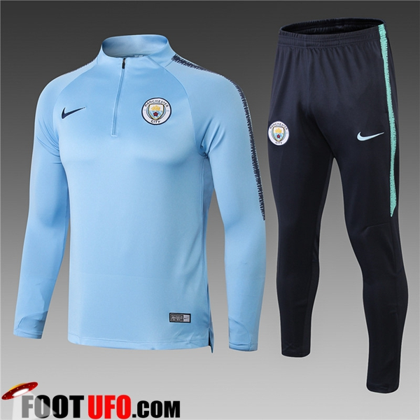 Ensemble Survetement de Foot Manchester City Enfant Bleu Clair 2018/2019