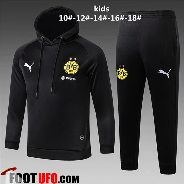 Ensemble Sweat A Capuche Survetement de Foot Dortmund BVB Enfant Noir 2018/2019