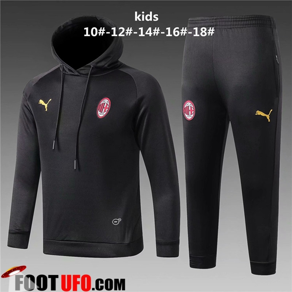 Ensemble Sweat A Capuche Survetement de Foot Milan AC Enfant Noir 2018/2019