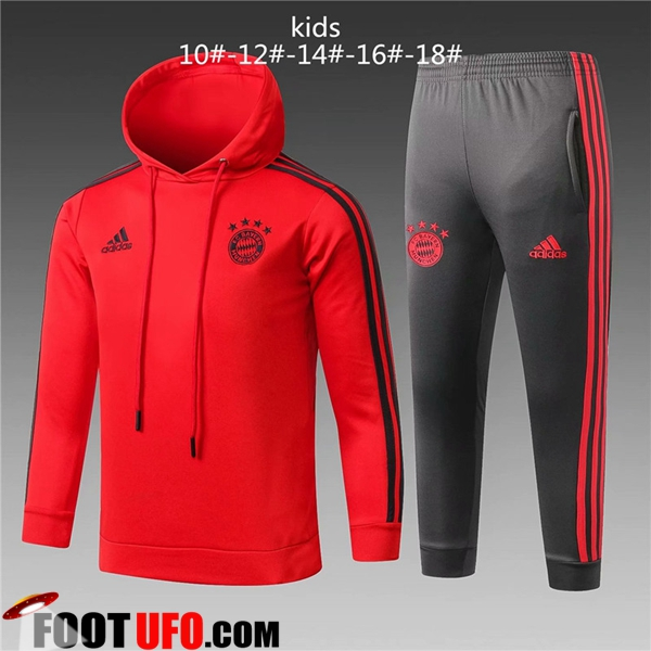 Ensemble Sweat A Capuche Survetement de Foot Bayern Munich Enfant Rouge 2018/2019
