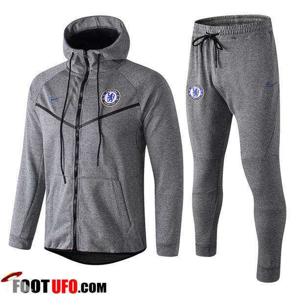 Ensemble Veste A Capuche Survetement FC Chelsea Gris 2018/2019