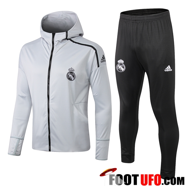 Ensemble Sweat A Capuche Survetement Real Madrid Gris Clair 2019/2020