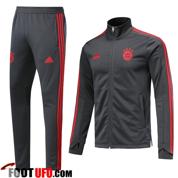 Ensemble Survetement de Foot - Veste Bayern Munich Gris Fonce 2019/2020