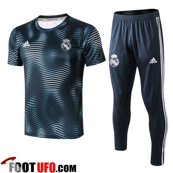 Ensemble PRÉ MATCH Training Real Madrid + Pantalon Ondulation Bleu 2019/2020