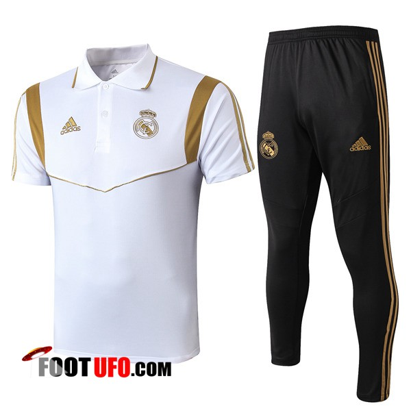 Nouveaux: 11Foots-fr Ensemble Polo Real Madrid + Pantalon Blanc Jaune 2019/2020