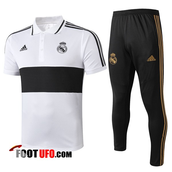 Ensemble Polo Real Madrid + Pantalon Noir Blanc 2019/2020