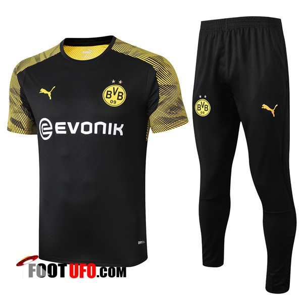 Ensemble Training T-Shirts Dortmund BVB + Pantalon Noir 2019/2020