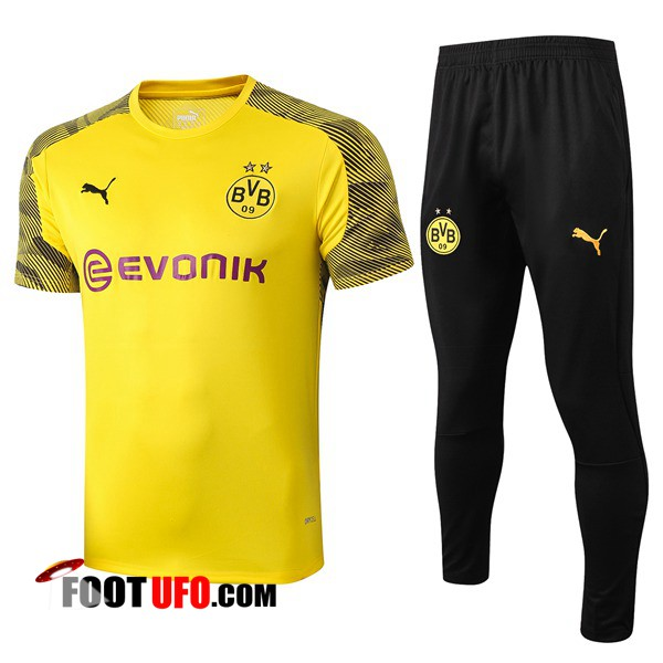 Ensemble Training T-Shirts Dortmund BVB + Pantalon Jaune 2019/2020