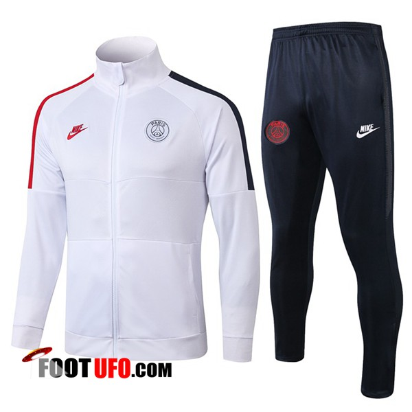 Ensemble Survetement de Foot - Veste PSG NIKE Blanc Noir Rouge 2019/2020