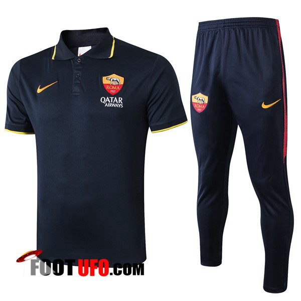Nouveaux: 11Foots-fr Ensemble Polo AS Roma + Pantalon Bleu Saphir 2019/2020