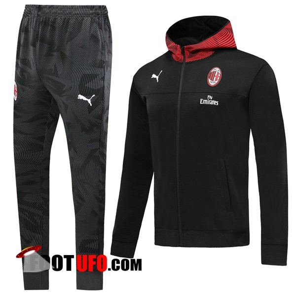 Ensemble Veste A Capuche Survetement Foot Milan AC Noir 2019/2020