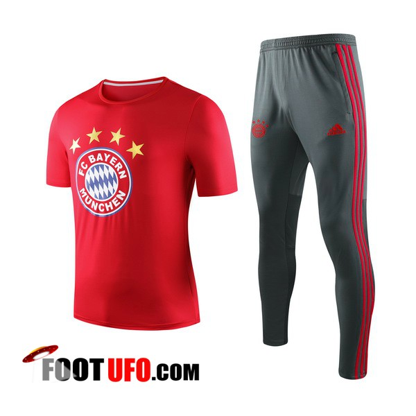 Nouveaux: 11Foots-fr Ensemble Training T-Shirts Bayern Munich + Pantalon Rouge 2019/2020