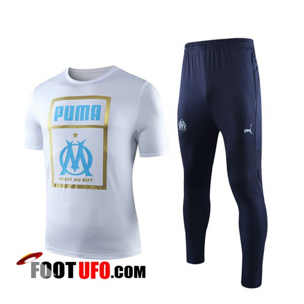 Ensemble Training T-Shirts Marseille OM + Pantalon Rouge 2019/2020