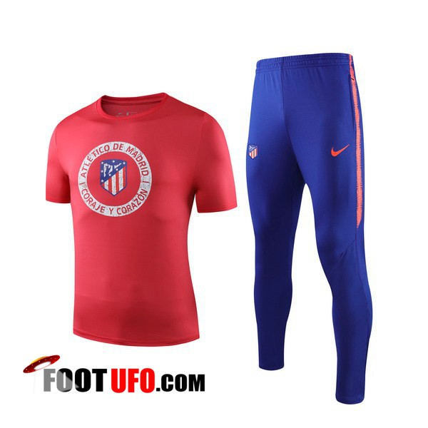 Ensemble Training T-Shirts Atletico Madrid + Pantalon Rouge 2019/2020