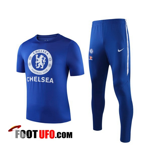 Ensemble Training T-Shirts FC Chelsea + Pantalon Bleu 2019/2020