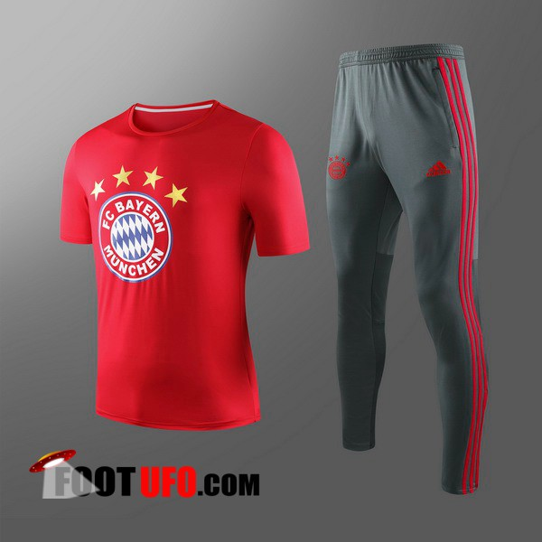 Nouveaux: 11Foots-fr Ensemble Training T-Shirts Bayern Munich Enfants + Pantalon Rouge 2019/2020