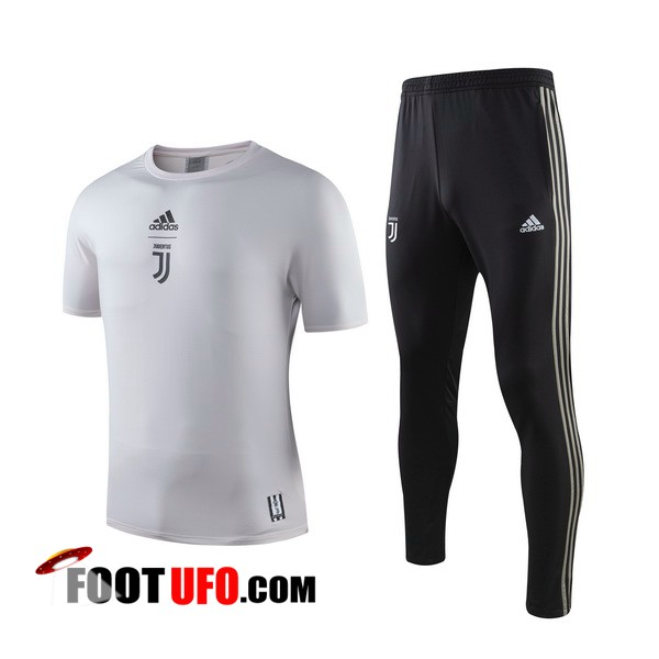 Ensemble Training T-Shirts Juventus + Pantalon Gris 2019/2020