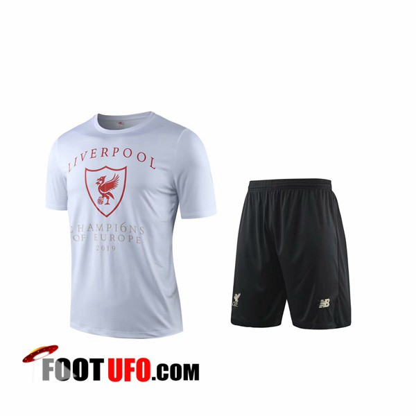 Ensemble Training T-Shirts FC Liverpool + Shorts Blanc 2019/2020