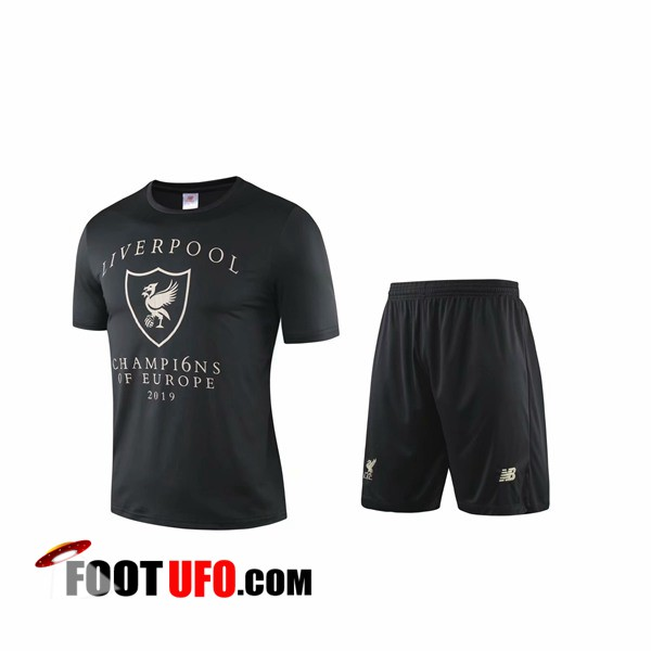 Ensemble Training T-Shirts FC Liverpool + Shorts Noir/Blanc 2019/2020