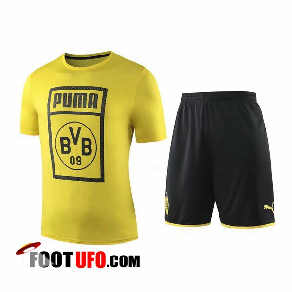 Ensemble Training T-Shirts Dortmund BVB + Shorts Jaune 2019/2020