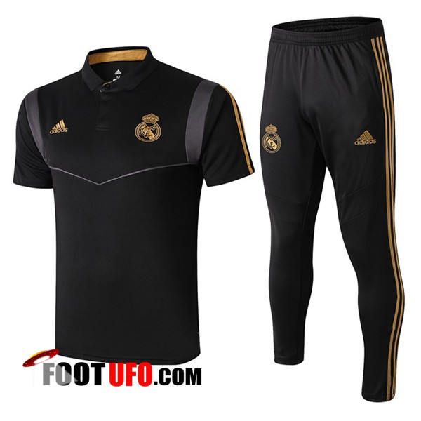 Ensemble Polo Real Madrid + Pantalon Noir Gris 2019/2020