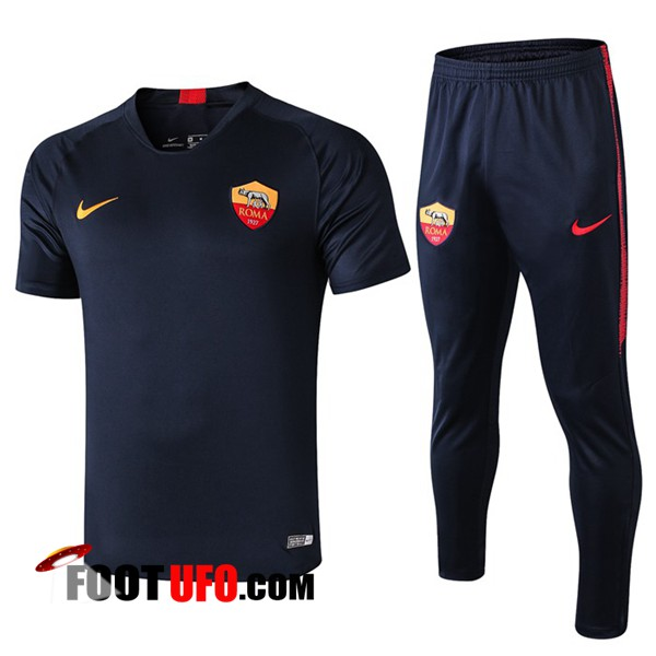 Ensemble Training T-Shirts AS Roma + Pantalon Bleu Fonce 2019/2020