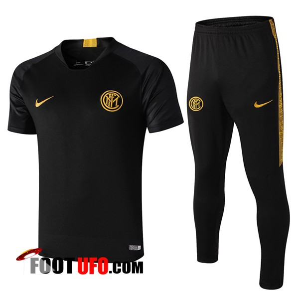 Nouveaux: 11Foots-fr Ensemble Training T-Shirts Inter Milan + Pantalon Noir 2019/2020