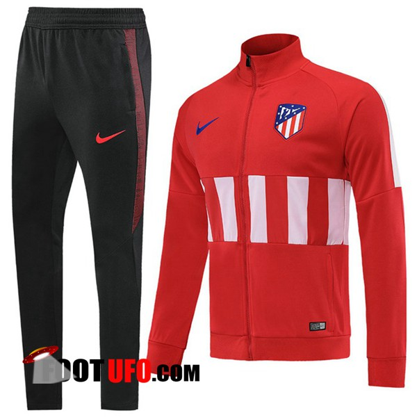 Nouveaux: 11Foots-fr Ensemble Survetement de Foot - Veste Atletico Madrid Rouge Blanc 2019/2020