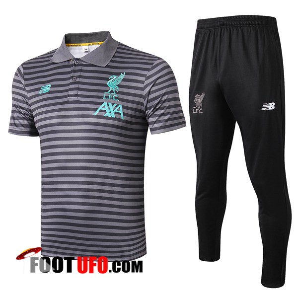 Ensemble Polo FC Liverpool + Pantalon Gris Fonce Stripe 2019/2020