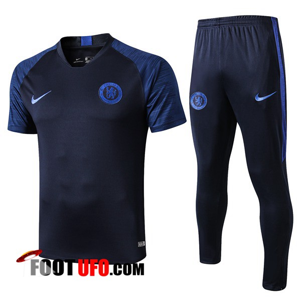 Ensemble Training T-Shirts FC Chelsea + Pantalon Bleu Fonce 2019/2020