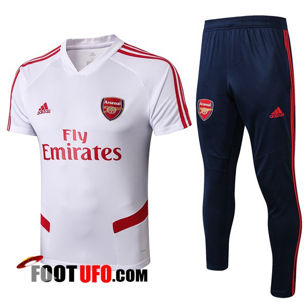Ensemble Training T-Shirts Arsenal + Pantalon Blanc 2019/2020
