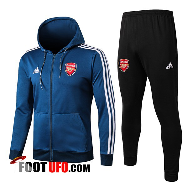 Ensemble Veste A Capuche Survetement Foot Arsenal Bleu 2019/2020