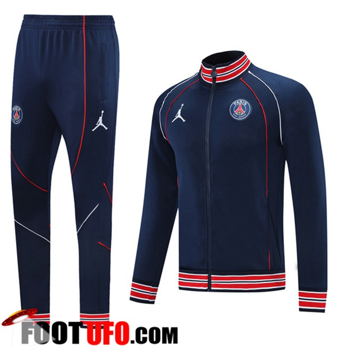 Ensemble Veste Survetement de Foot Jordan PSG Bleu Marin 2021/2022
