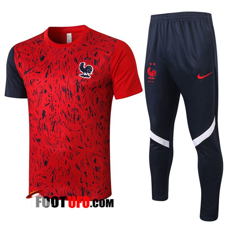 Ensemble Training T-Shirts France + Pantalon Rouge 2020/2021