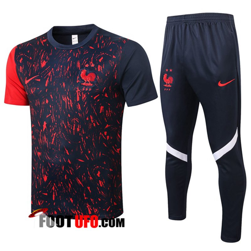 Ensemble Training T-Shirts France + Pantalon Noir 2020/2021