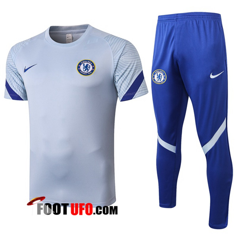 Ensemble Training T-Shirts FC Chelsea + Pantalon Gris 2020/2021