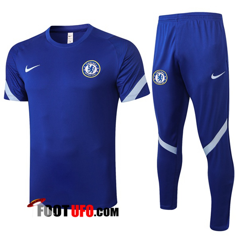 Ensemble Training T-Shirts FC Chelsea + Pantalon Bleu 2020/2021