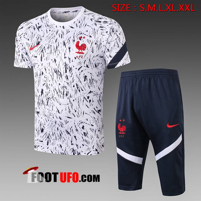 Ensemble Training T-Shirts France + Pantalon 3/4 Blanc 2020/2021