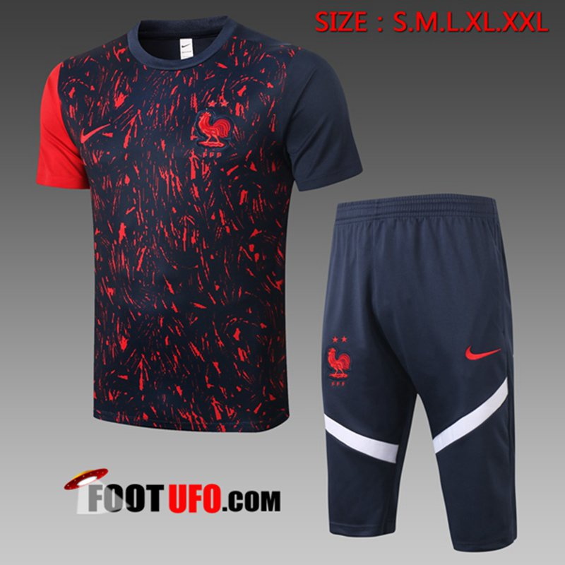 Ensemble Training T-Shirts France + Pantalon 3/4 Noir 2020/2021