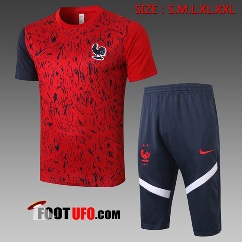Ensemble Training T-Shirts France + Pantalon 3/4 Rouge 2020/2021