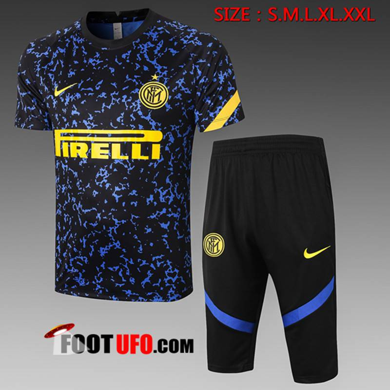 Ensemble Training T-Shirts Inter Milan + Pantalon 3/4 Bleu 2020/2021