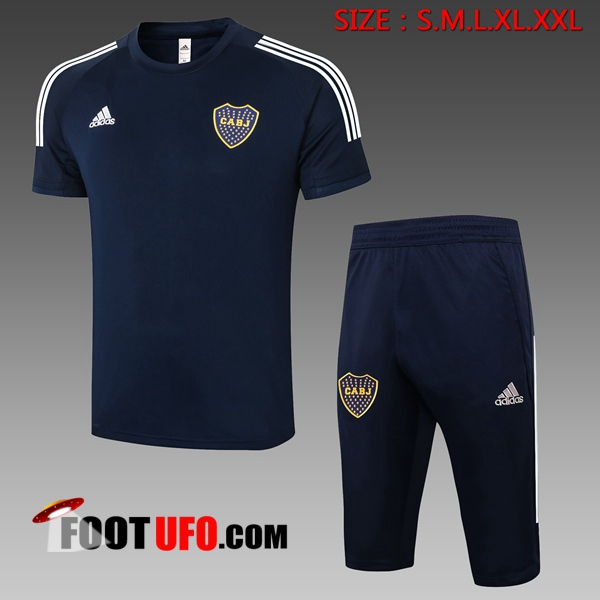 Nouveaux: 11Foots-fr Ensemble Training T-Shirts Boca Juniors + Pantalon 3/4 Bleu Royal 2020/2021