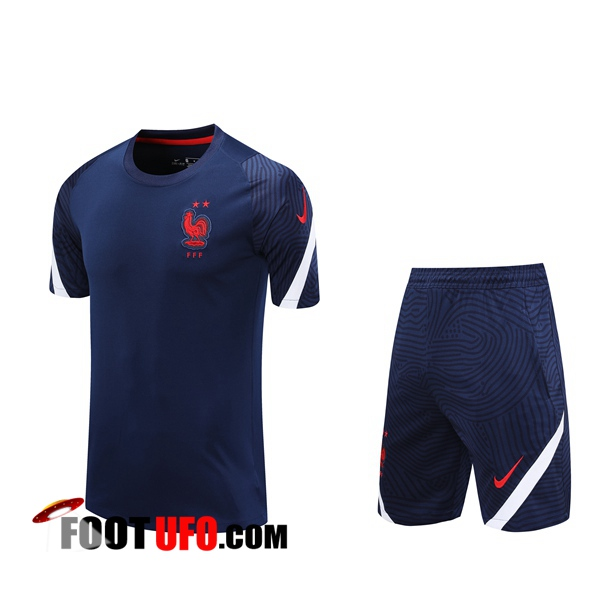 Ensemble Training T-Shirts France + Shorts Bleu Royal 2020/2021