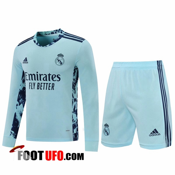 11Foots-fr Ensemble Maillot de Foot Real Madrid Gardien de But Bleu 2020/2021