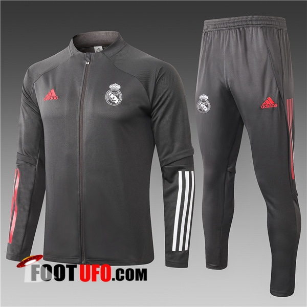 Ensemble Survetement Foot - Veste Real Madrid Enfant Gris Fonce 2020/2021