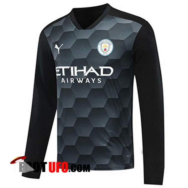 11Foots-fr Maillot Manchester City Gardien De But Noir Manche longue 2020/2021