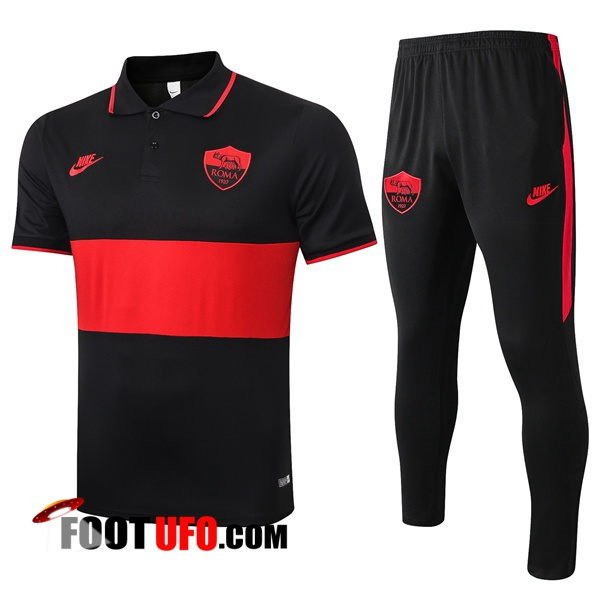 Nouveaux: 11Foots-fr Ensemble Polo AS Roma + Pantalon Noir Rouge 2020/2021