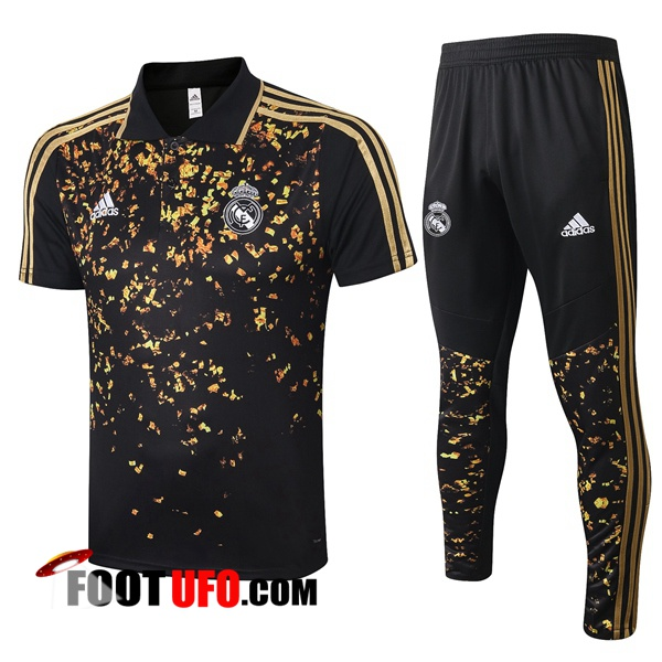 Ensemble Polo Real Madrid + Pantalon Noir Jaune 2020/2021