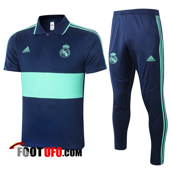 Ensemble Polo Real Madrid + Pantalon Bleu Vert 2020/2021
