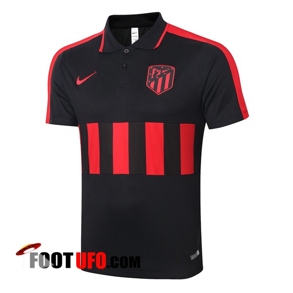 Polo Foot Atletico Madrid Noir Rouge 2020/2021